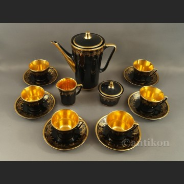 Serwis do kawy Chodzież czarny złocony lata 70