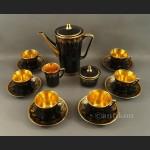 Serwis do kawy Chodzież kolorowy złocony lata 70