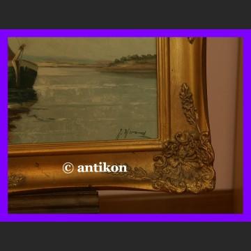 Obraz olejny marynistyka łodzie