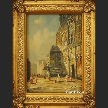 Obraz olejny stary Gdańsk miniatura