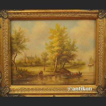 Obraz olejny Widok na rzekę piękny olej