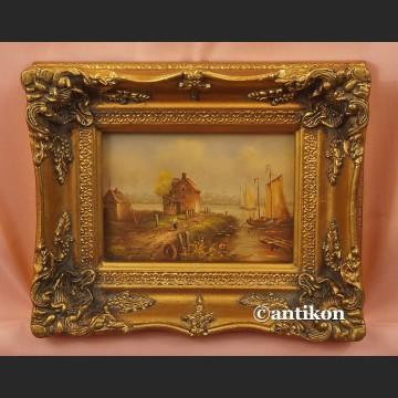 Obraz olejny holender na brzegu kanału