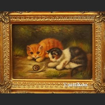 Obraz olejny koty kotki