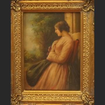 Obraz olejny portret przy oknie
