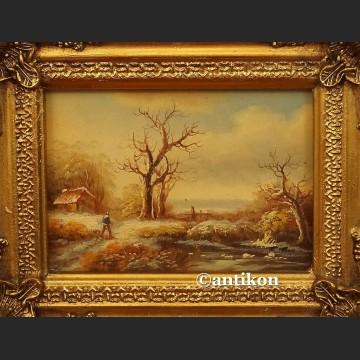 Obraz olejny zimowy pejzaż zima
