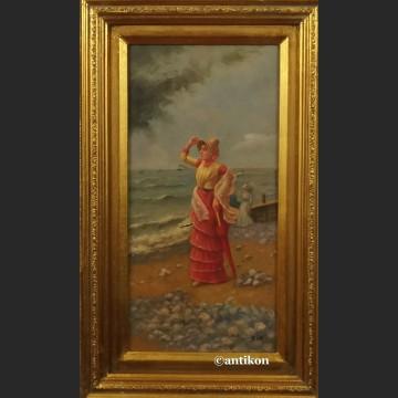 Obraz olejny Widok wybrzeża Damy na plaży