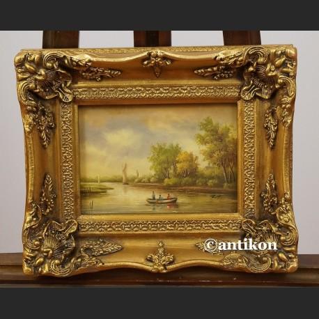 Obraz olejny krajobraz z jeziorem