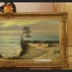 Obraz olejny na płótnie Plaża morze wydmy piękne malarstwo