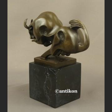 Byk rzeźba z brązu modernistyczna figura Symbol giełdowej hossy