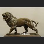 Rzeźba lew ryczący prawdziwy brąz duży sygnowany