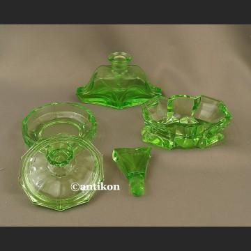Zestaw Art Deco zielone szkło stare