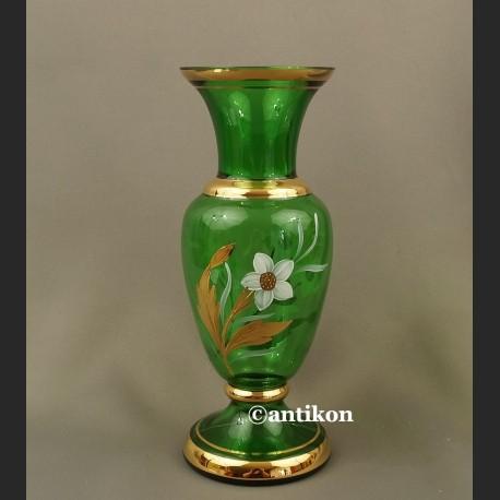 Stary wazon bohemia ręcznie malowany zielony duży