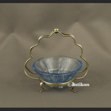 Cukiernica art deco z niebieskim szkłem