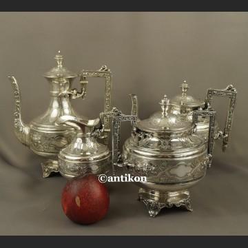Posrebrzany serwis do kawy i herbaty A. Frenais neobarokowy