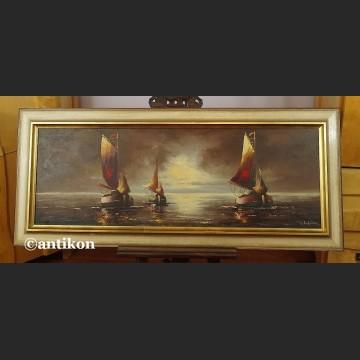 Obraz marynistyczny Łodzie aukcyjne malarstwo