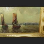 Obraz marynistyczny Łodzie rybackie w złotej ramie