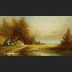 Malarstwo aukcyjne Seekatz Panorama z wiejską chatą