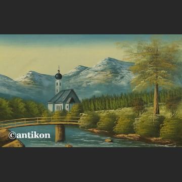 Obraz olejny na desce Górski pejzaż z kapliczką