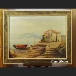 Obraz olejny śródziemnomorski pejzaż duże płótno do sypialni