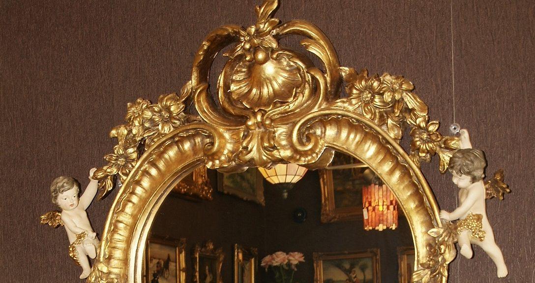 lustro barokowe z aniołami